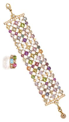 18 KARAT GOLD, COLORED STONE AND DIAMOND BRACELET AND RING, BULGARI The flexible bracelet set with numerous double rose-cut sapphires weighing approximately 35.00 carats, accented by 4 double rose-cut peridots, further set with round diamonds weighing approximately 6.55 carats, length adjustable, signed Bulgari; the ring set with three mixed-cut colored stones and round diamonds weighing approximately .55 carat, size 6½, signed Bulgari.