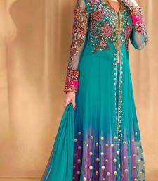 Buy Blue net embroidered semi stitiched salwar with dupatta party-wear-salwar-kameez online