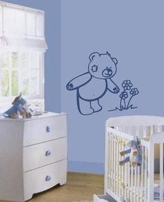 sticker quarto bebe urso e flor