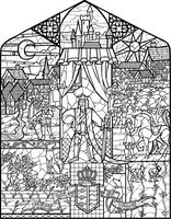 Beauty The Beast Stained Glass Coloring Pages