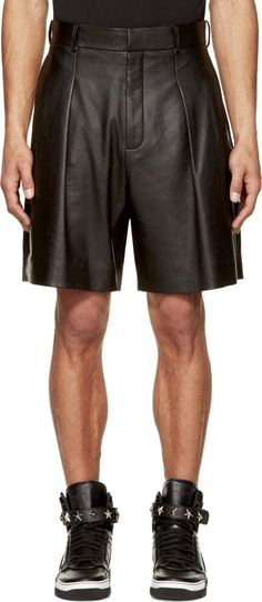 Givenchy - Black Lamb Leather Pleated Shorts