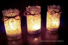 csipkemecses Mason Jar Lamp, Martini, Candle Holders, Table Lamp, Candles, Crafts, Preschool Ideas, Advent, Home Decor