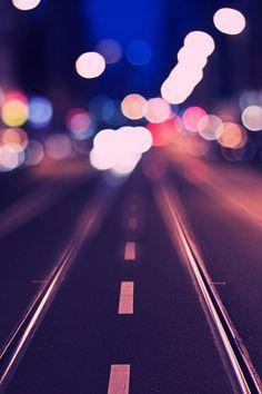 City lights, traffic, blurred, urban