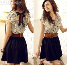 Cute polka dot dress with black skirt and brown belt