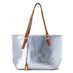 29aab99af3 Michael Kors Gia Metallic Crocodile-Embossed Leather Tote Silver-01 Michael  Kors Handbags Outlet