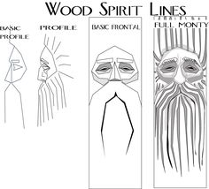 here's an illustration to help in understanding the lines and shapes of a simple wood spirit. you can print this out and glue in to the wood...