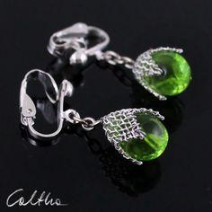 Green in mesh (clips) from Caltha jewellery by DaWanda.com