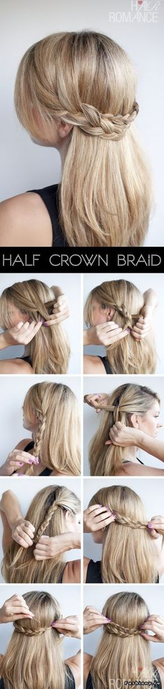 Super Easy DIY Braided Hairstyles for Wedding Tutorials Hair Romance Half crown braid half up half d No Heat Hairstyles, Diy Hairstyles, Pretty Hairstyles, Wedding Hairstyles, Hairdos, Updo Hairstyle, Latest Hairstyles, Ponytail Hairstyles, Updos