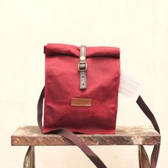 Gouache Waxed Canvas Lunch Bag (Maroon)