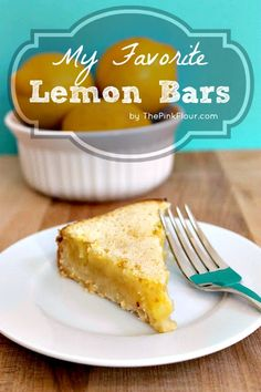 My Favorite Lemon Bars - thick shortbread crust with a delicious lemon curd filling topped with powdered sugar #desserts #dessertrecipes #yummy #delicious #food #sweet