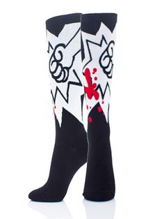 BLAMO! Punch life in the crotch with these FIST roller derby knee high socks. Smack some bee hives, kick some tires, play some roller derby – go crazy – and look like a bad ass while you're at it! #rollerderby