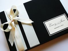 Wedding Guest Book Made to Order by ModernShabby on Etsy    Tied Ribbon Will be Dark Pink