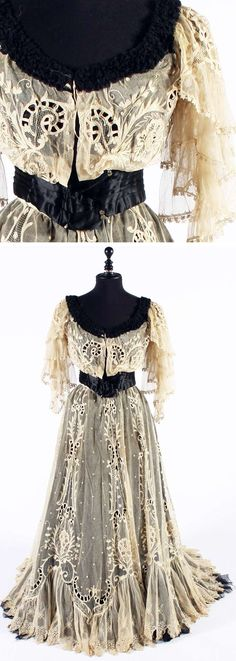 VESTIDO EN SEDA NEGRA Y ALGODON BORDADOS 1905 Edwardian Dress, Edwardian Fashion, Edwardian Era, 1900s Fashion, Vintage Fashion, Vintage Gowns, Vintage Lace, Antique Lace, Vintage Outfits
