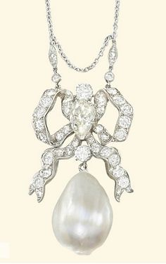 A BELLE EPOQUE NATURAL PEARL AND DIAMOND PENDANT   Designed as a flat drop-shaped natural pearl weighing 19.34 carats suspended from a diamond-set bow plaque mounted with a central old-cut pear-shaped diamond, to the associated fine-link neckchain, pendant circa 1910, 3.8cm long, associated neckchain later, 45.0cm long