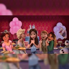Me at my 14th birthday celebration. I'm celebrating in Arendelle. Guess who came? (Left to right. Olive wore pink and put her hair up) Olive, An, Devin, and Serena (her sister)! I have a feeling something will go wrong though.......