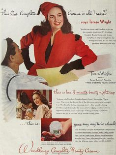 Teresa Wright for Woodbury Complete Beauty Cream,  April 1944. vintage #1940s #beauty