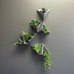 Tessellations //  Set of 3 Aluminum Planters  With limitless arrangement possibilities, each set can be true expression of the owners personalty or