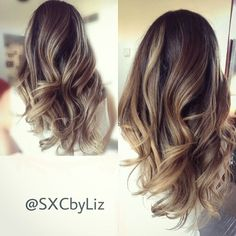 High contrast balayage ombre technique. Beige blonde with a hint of golden blonde for the sun kissed summer hair