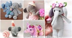 Collection of Crochet Elephant Softies and More Free Patterns Tutorials: Amigurumi Elephant Toys, Kids, Baby Booties, Hair Tie, Snuggles and More
