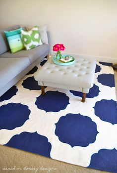 danielle oakey interiors ~ DIY painted rugs like the color scheme. Like the idea for a coffee table