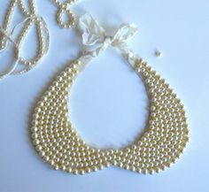Add some sweet and sassy to your favorite blouse with this DIY Peter Pan Pearl Collar via loftinsoho.com!