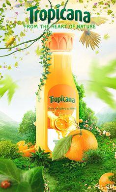 Tropicana on Behance Food Poster Design, Creative Poster Design, Creative Posters, Ad Design, Label Design, Packaging Design, Visual Advertising, Creative Advertising, Advertising Poster