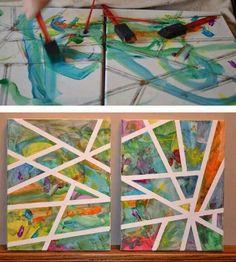 Wanddeko...keilrahmen mit klebestreifen nach belieben abkleben..malen und abziehen