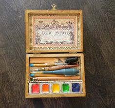 wooden box for watercolor set.