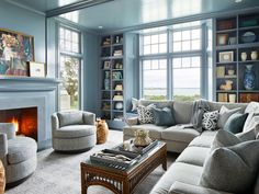 House Tour-A Gorgeous Beach House Sitting High A Cliff in Newport New England Homes, New Homes, Newport Cliff Walk, Contemporary Chairs, Fantasy Rooms, Blue Rooms, Living Room Inspiration, Color Inspiration, Formal Living Rooms