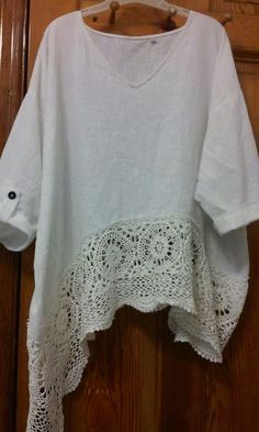 Great inspiration for making shirts longer. Victorian Dream white pearl cotton / linen magnolia crochet up cycled tunic Sewing Clothes, Crochet Clothes, Diy Clothes, Mode Crochet, Crochet Lace, Altered Couture, Altering Clothes, Dressmaking, Cotton Linen