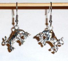 Ohrringe Stier Bulle 3D Edelstahl Ohrhänger Metall Legierung Modeschmuck Damen Neuware