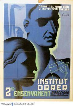2on ensenyament : creat pel Ministeri d' Instrucció Pública :: Cartells del Pavelló de la República (Universitat de Barcelona)