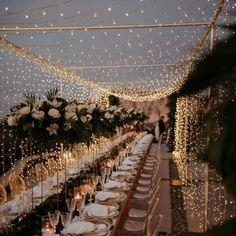 Fairy Lights Wedding, Outdoor Fairy Lights, Twinkle Lights Wedding, Outdoor Wedding Lights, Wedding Reception Lighting, Marquee Wedding, Wedding Receptions, Ivory Wedding Garter, Xmas Lights