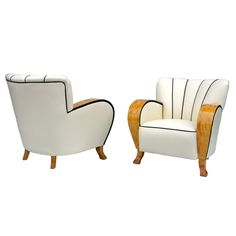A Swedish Pair of Birch and Creme Leather Art Deco Armchairs Circa 1930's