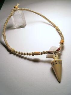 Handmade Carved Taqua Nut Point Hemp Necklace by NaturallyHemp, $15.00