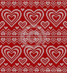 Valentines day red knitted vector seamless pattern by 1enchik, via Dreamstime