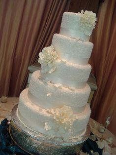 Fondant covered cake that was additionally adorned with crystal sugar