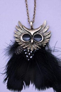 Gold Feathered Antiqued Metal Owl Pendant Necklace