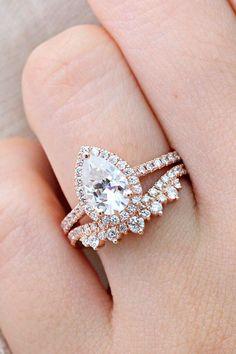 moissanite engagement rings halo teardrop set ring glold lamoredesign