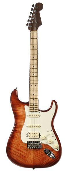 FENDER Select Stratocaster HSS Exotic Maple Flame - Bing Cherry Burst | Chicago Music Exchange.    lessonator.com