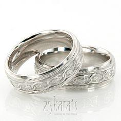 Classic Floral Carved Celtic Wedding Ring Set