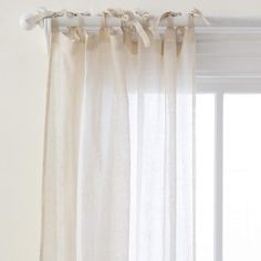 Light and airy, the Savannah Linen Gauze Window Panel from Pine Cone Hill presents a simple style with a charming tie top. Tie Top Curtains, Drapes And Blinds, Sheer Curtain Panels, Window Panels, Blackout Drapes, Curtain Patterns, Custom Drapes, Tea Stains, Curtains