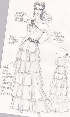 12 best fashion ilustration images fashion sketchbook fashion Girl Sketch boceto vestido con falda de volantes