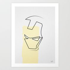 Oneline Ironman Art Print by quibe - $22.00
