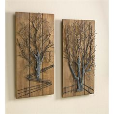 Plow & Hearth Metal Tree 2 Piece Graphic Art Set