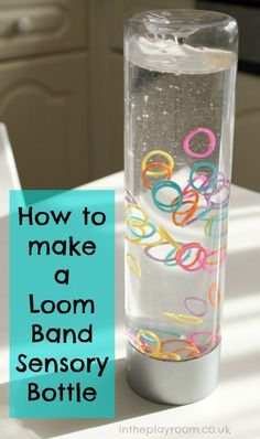 What a creative sensory bottle filler! How to make a loom band sensory bottle is easy and requires only a few supplies. How to make loom band sensory bottles aka discovery bottles, calming bottles or calm down jars. These are so easy! Calm Down Jar, Calm Down Bottle, How To Calm Down, Sensory Activities, Infant Activities, Activities For Kids, Sensory Play Autism, Diy Sensory Toys, Baby Sensory Play