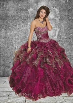 Ball Gown Strapless Neckline Floor length Sleeveless Organza Quinceanera Dress with Beading (SAS384) [SAS384] - US : Prom Dresses and Quinceanera Dresses - Iprom Dress Store, Iprom Dress Store