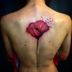 Poppy Watercolor Tattoo