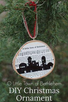DIY Christmas ornament using the carol O Little Town of Bethlehem, plus free printables of the song, Christmas carol ornament