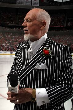 NEWARK, NJ - MAY Don Cherry looks on prior to Game One of the 2012 NHL Stanley Cup Final between the Los Angeles Kings and New Jersey Devils at the Prudential Center on May 2012 in Newark, New Jersey. (Photo by Bruce Bennett/Getty Images) Nhl Stanley Cup Finals, Hockey Goalie, Hockey Baby, Ornette Coleman, Don Cherry, Boston Bruins Hockey, King Photo, Jersey Outfit, Nhl Players